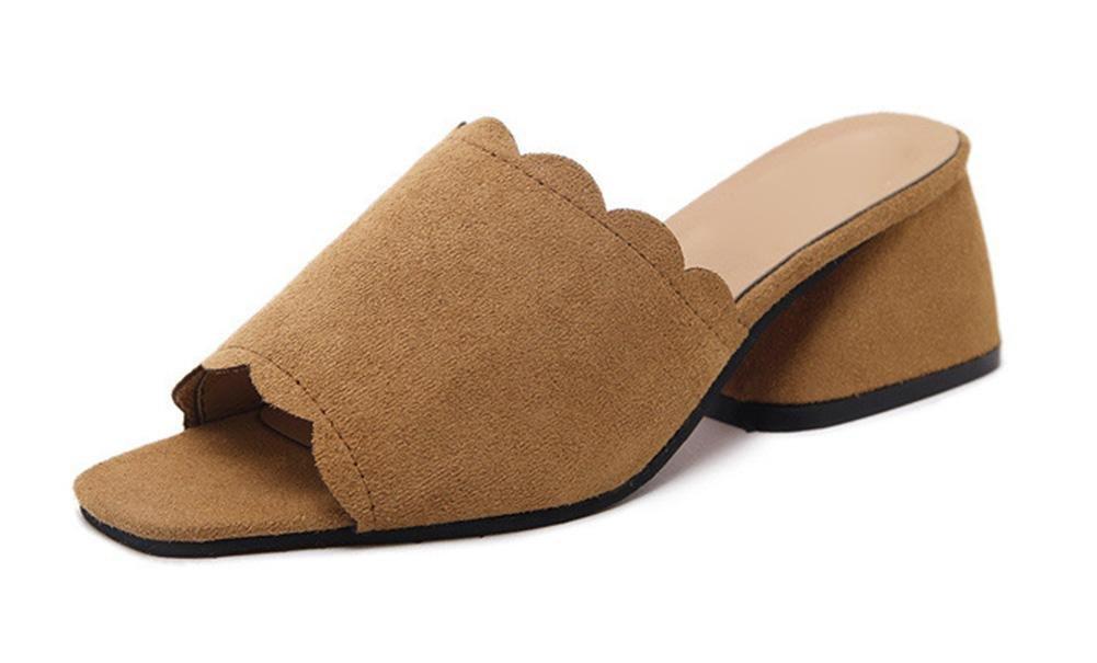 Sommer Pantoffel Frau in dem rauen mit der Dame mit offenen Sandalen und Pantoffeln Wortfischkopf Schuhen Brown