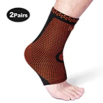 Cambivo Ankle Support Brace, Ankle Sleeve Plantar Fasciitis Socks, Fit for Ankle Sprain, Ideal Foot Sleeve for Injury Recovery, Joint Pain, Eases Swelling, Heel Spurs, Achilles Tendon - 1 or 2 Pair