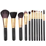 Gotta Makeup Brushes Set 11 Pieces Professional Cosmetic Tools Soft Goat Hair Fiber with Portable Organizer Bag, Rose Gold