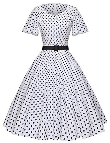 50s Style Clothing (GownTown Women's 1950s Polka Dot Vintage Dresses Audrey Hepburn Style Party Dresses)