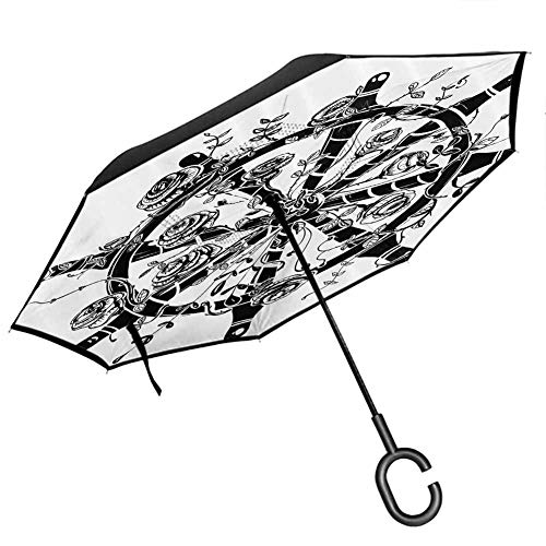 Caktophyg Nautical Decor Collection Inverted Umbrella Steering Wheel with Roses Vintage Artistic Sea Sailing Ship Design for UV Protection & Rain, Black and White