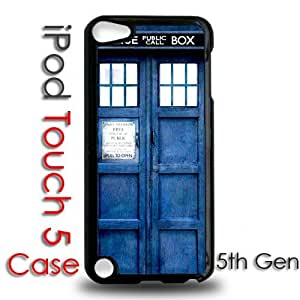 IPod 5 Touch Black Plastic Case - Dr Who Tardis Phone Booth Blue Call Box
