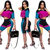 2 Piece Outfits for Women Color Block Crop Top and Shorts Tracksuit Set