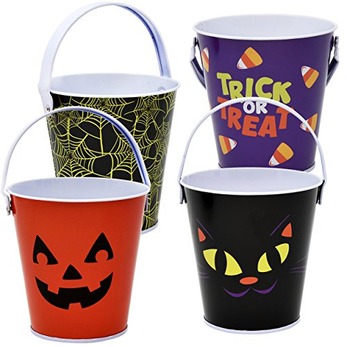"Halloween Metal Buckets With Handles Small 4"" Trick Or Treat Pails Candy Goodie Baskets, Pack of 4 Party Favor Supplies Decorations By Gift - Amazing The Spiderman Lenses"