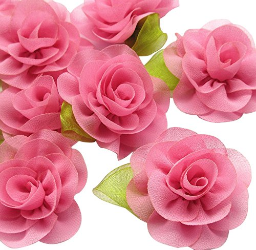 Dandan DIY 12pcs Multi Colors U-pick Chiffon Ribbon Flowers with Leaf Bows Appliques Craft Wedding Doll Dec (Mauve)