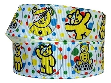 1 metro de cinta de color blanco con diseño del oso Pudsey ...