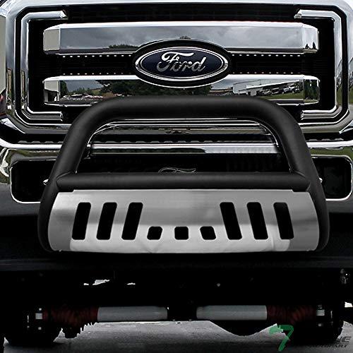 Topline Autopart Matte Black HD Heavyduty Bull Bar Brush Push Front Bumper Grill Grille Guard w/ Chrome Skin Plate 11-16 Ford F250 F350 F450 F550 Superduty
