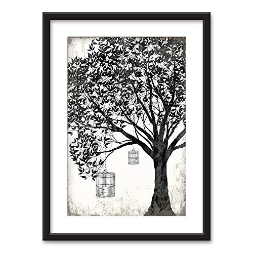 Framed Bird Cages Hanging on a Tree in Black White Black Picture Frames White Matting