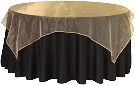 Amazon.com: Your Chair Covers - 90 Inch Square Organza Table Overlay Gold,  Lightweight Sheer Organza Table Cloths: Home & Kitchen
