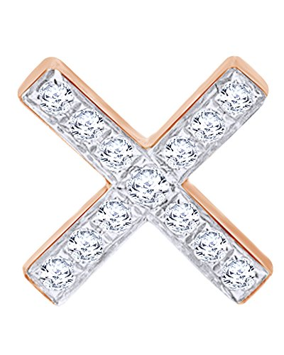 14K Solid Rose Gold White Natural Diamond Single ''X'' Cross Stud Earring by Wishrocks