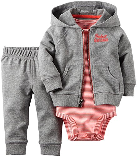 (Carter's Baby Boys' 2 Piece Striped Cardigan Set 121g375, Gray/Red, New Born)