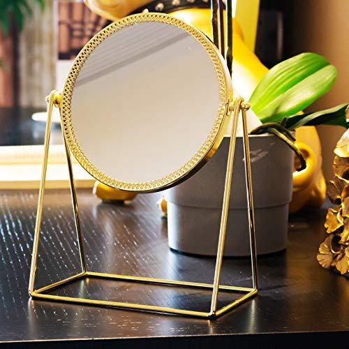 Display4top Retro Golden Makeup Mirror,Decorative Vanity Mirror 360 Rotation Metal Cosmetic Mirror Round Beauty Mirror