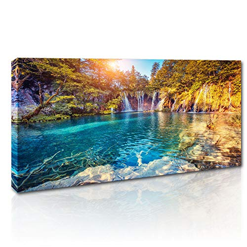 Canvas Wall Art Natural Landscape Painting Waterfall with Pure Blue Water in Plitvice Lakes Artwork Orange Autumn Forest on Background Prints Picture for Living Room Bedroom Decoration 20