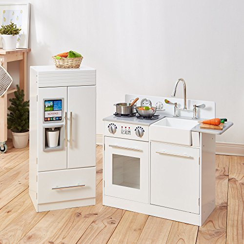 Teamson Kids - Modern Wooden Kids Play Kitchen, Toddler Pretend Play Set with accessories, White