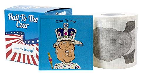Donald Trump Toilet Paper / Custom Colorful Gift Box / Funny Trump Caricature In An Emperor Crown and Robe / Single TP Roll / BONUS Trump Sticker