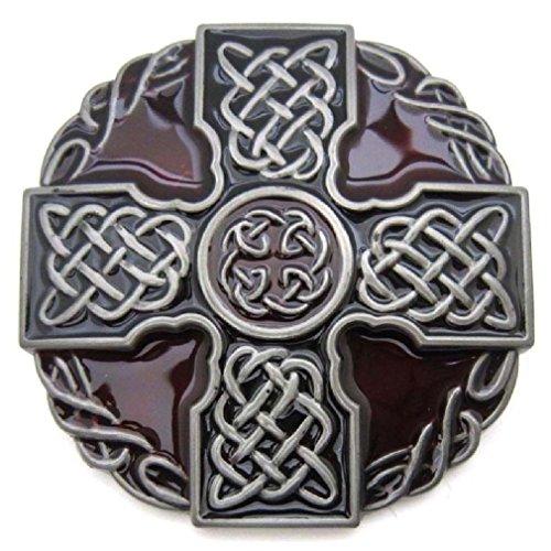 Irish Medieval Clothing - Irish Celtic Knot Weave Medieval Cross Shield Belt Buckle Mens Vintage Western