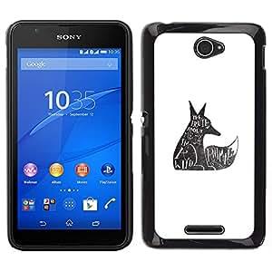 LECELL--Funda protectora / Cubierta / Piel For Sony Xperia E4 -- Lobo salvaje Derechos de los Animales Cita Tatuaje --