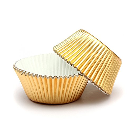 Swity Home 200 Pcs Gold Foil Metallic Cupcake Case Liners for Wedding Party Birthday Decoration, Set of 200(Gold) -