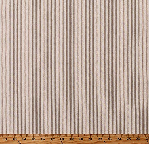 Premium Yarn-Dyed Woven Ticking Stripe Khaki Stripes on Natural 45