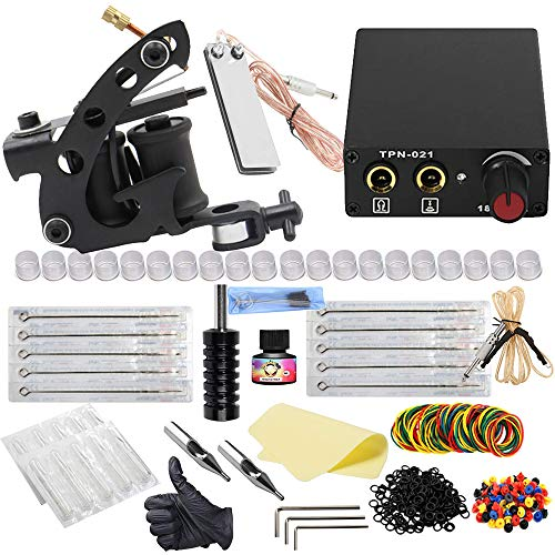 Complete Tattoo Kit, Tazay Coil Tattoo Machine Guns Kit with Tattoo Power Supply Foot Pedal Needles Grips Tips Accessories Set for Shading and Lining for Starter Beginner Tattoo Supplies