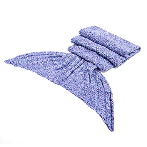 LAGHCAT Mermaid Tail Blanket Crochet Mermaid Blanket for Adult, Soft All Seasons Sleeping Blankets, Whale Tail Pattern (71″x35.5″, Purple)