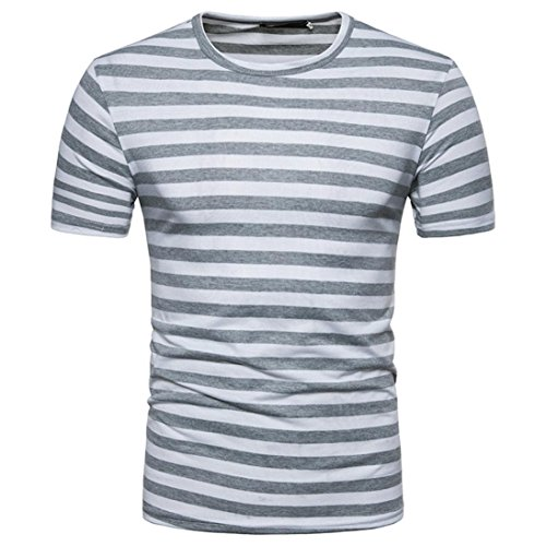 63cd312cc4bce Qisc Mens Tops Men s Youth Short Sleeve Crew Neck Striped Color Block T Shirt  Tee Outfits Tops (XXL