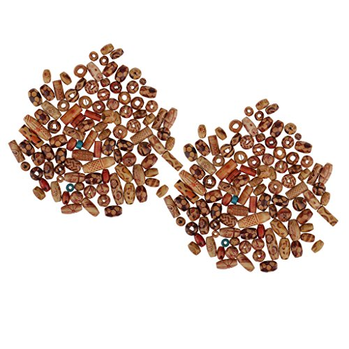 MagiDeal 200 Pieces Mix Large Hole Boho Wooden Beads for Macrame Jewelry Pendant Crafts Making