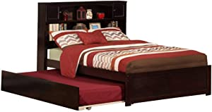Atlantic Furniture Newport Platform Bed with Flat Panel Footboard and Twin Size Urban Trundle, Full, Espresso