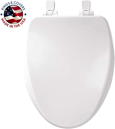 White Never Loosen and Provide the Perfect Fit ELONGATED Highly Stylized Durable Enameled Wood MAYFAIR 1864SLOWA 000 Toilet Seat will Slow Close