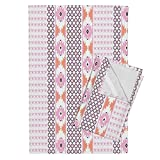 Roostery Southwest Diamond Pink Boho Arrows Tea Towels Diamonds & Arrows by Fable Design Set of 2 Linen Cotton Tea Towels