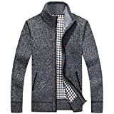 XinDao Men's Zip Knitted Cardigan Sweater Dark Grey US XL/Asia 3XL