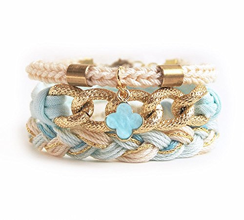 Bracelet set, bohemian arm candy stack with clover charm, mint and beige