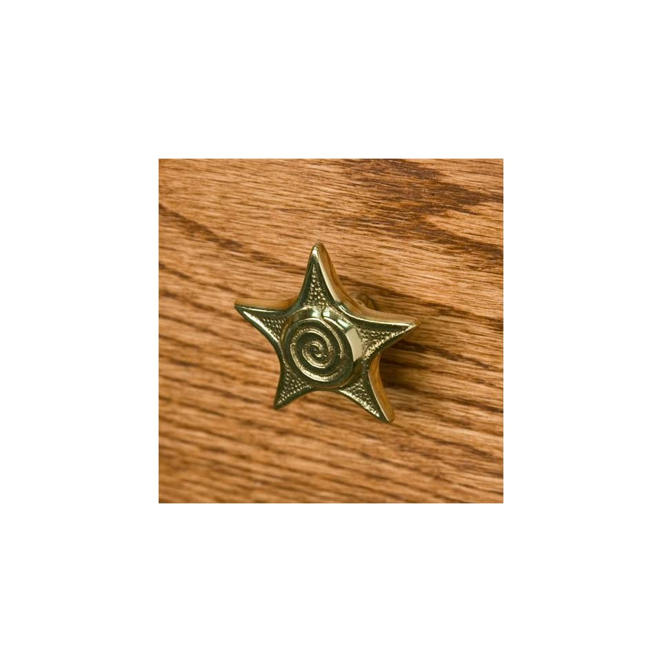 Solid Brass Star Cabinet Knob   Polished & Lacquered Brass
