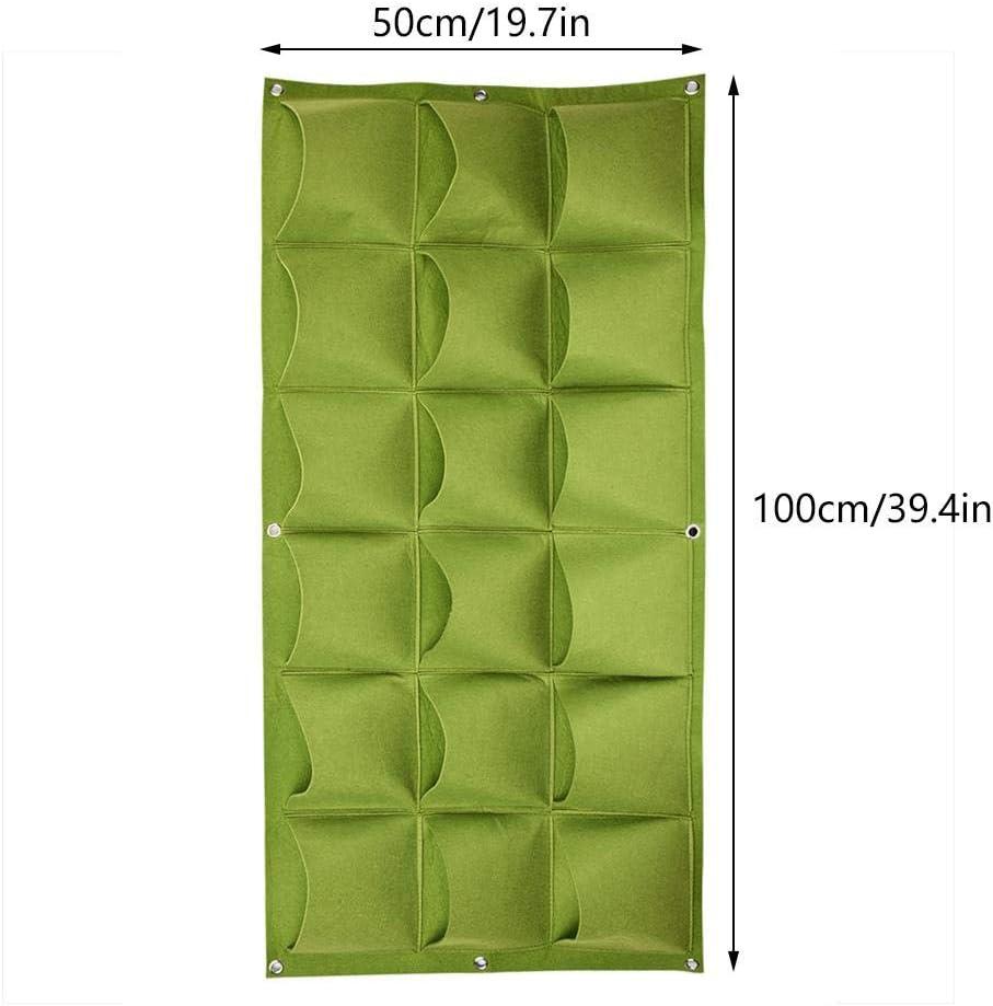 18 bolsillos Bolsas de plantas de cultivo vertical Jardinera Greening Pared colgante Jard/ín al aire libre