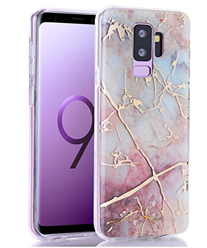 Galaxy S9 Plus Case,Spevert Marble Pattern Hybrid Hard Back Soft TPU Raised Edge Ultra-Thin Shock Absorption Slim Protective Case Compatible Samsung Galaxy S9 Plus/S9+(2018 Released) - Colorful