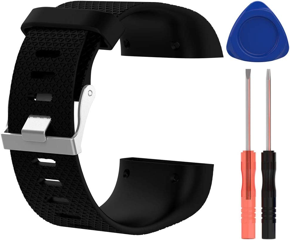 No Tracker Soft Silicone Adjustable Replacement Strap with Metal Buckle Clasp for Fitbit Surge HWHMH Bands Compatible with Fitbit Surge