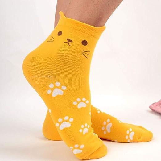 VJGOAL Moda casual Cat Footprints Calcetines Calcetines de algodón lindos(Tamaño del niño, Amarillo): Amazon.es: Ropa y accesorios