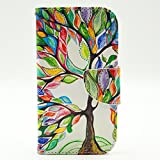 Galaxy S4 Case,S4 Case,JanCalm [Kickstand] Pattern Premium PU Leather Wallet [Card/Cash Slots] Protective Flip Cover for Samsung Galaxy S 4*Including-ONE Crystal Pen(Beautiful tree)