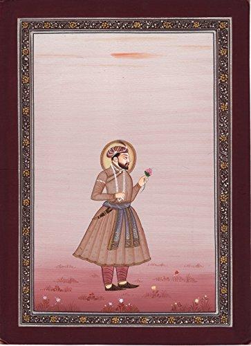 (Mughal Miniature Painting of Emperor Shah Jahan HandMade India Folk Portrait Art )