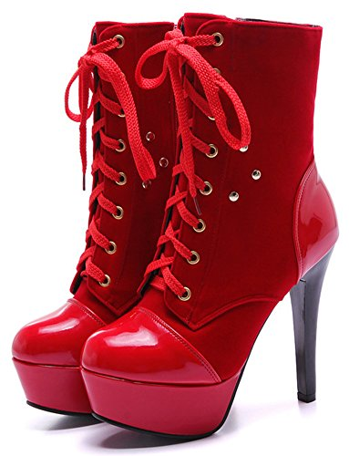 Dressy Aisun Pointy Short With Heels Red Stiletto Toe High Booties Up Boots Zip Zipper Ankle Lace Inside Platform Women's Extreme OOrpn