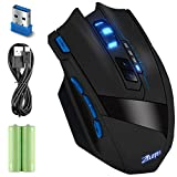 Wireless Gaming Mouse Rechargeable 2.4GHz Professional Optical with Adjustable 2500DPI for Gamer PC Laptop Desktop Notebook (1500 mAh)