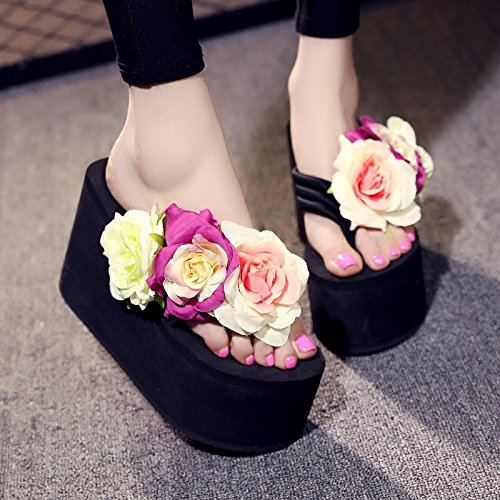 Lettow foot XZ Korean and drag thick slope female flower version UK super fashion bottom fashion 6 anti beach cold British handmade clip LIUXINDA Summer 5 slip high heel vdw11qA