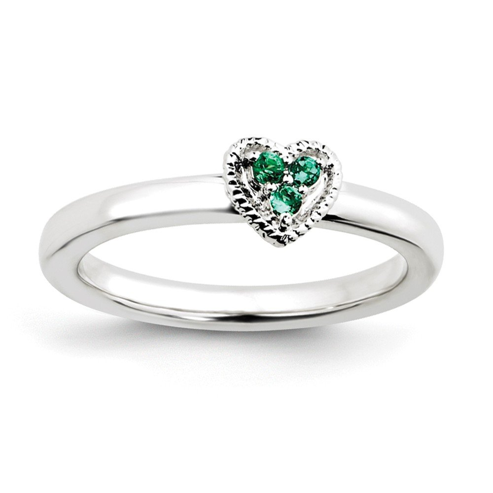 Top 10 Jewelry Gift Sterling Silver Stackable Expressions Heart w/Created Emerald Ring
