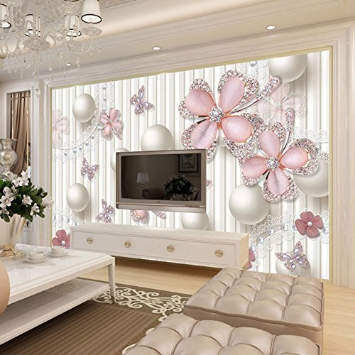 Mznm Custom 3D Photo Wallpaper Luxury 3D Jewel Diamond Circles White Balls Art Mural Living Room Tv Background Wall Painting-120X100Cm by Mznm (Image #2)