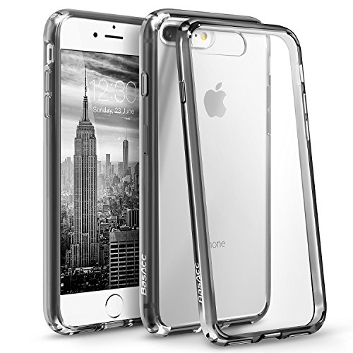 BasAcc [Crystal Clear] Ultra Slim Hybrid Case w/ [Anti-Shock Protection] TPU Bumper, [Non Slip] Hard Back Panel Case Cover Compatible with Apple iPhone 8 Plus/ 7 Plus, Black Basacc Bumper Tpu Case