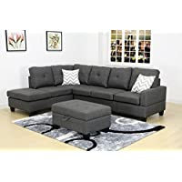 U.S. Livings Skyla Modern Living Room Sectional Sofa Set with Ottoman (Left, Grey Linen)