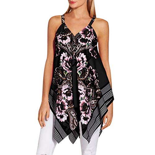 Sunhusing Women's Sexy Very V-Neck Sleeveless Casual Bohemian Print Loose Pop Vest Top Black