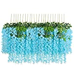 UArtlines-24-Pack-36-FeetPiece-Artificial-Fake-Wisteria-Vine-Ratta-Hanging-Garland-Silk-Flowers-String-Home-Party-Wedding-Decor-Extra-Long-and-Thick-24-Blue
