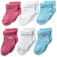 Gerber Baby Girls' 6 Pack Socks, Birdie, 0-3 Months