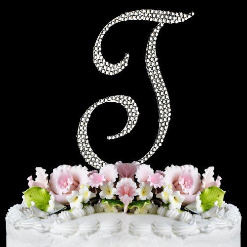 RaeBella Weddings Completely Covered Swarovski Crystal Silver Wedding Cake Topper ~ Medium Monogram Letter H (Basket Silver Cake)